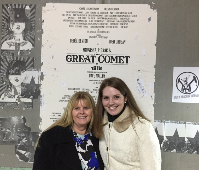 Mother and daughter in the lobby of the Imperial Theatre in New York City, where Natasha, Pierre and the Great Comet is currently playing.